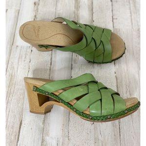 Dansko Tory leather wooden heel sandals